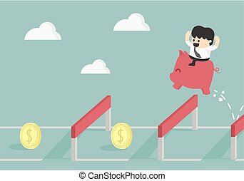 Businessman Jumping Over Hurdle To financial success