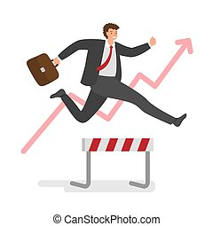Businessman jumping over hurdles in race for the success. Concept of business challenge, successful overcoming. Vector illustration.