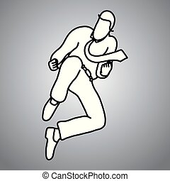 businessman jumping to fight vector illustration doodle sketch hand drawn with black lines isolated on gray background. business concept.