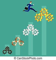 Businessman Jumping To Gold Cogwheels