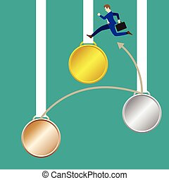 Businessman Jumping To Gold Medal