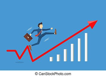 Businessman jumping to success with fast, Business breakthrough success concept,vector illustration