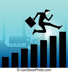 Businessman jumping towards success