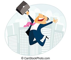 Businessman jumping with case