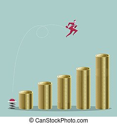 Businessman jumps high, cross the piles of dollar coins. Isolated on blue background.