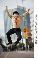Businessman Jumps In The Air