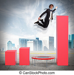 Businessman jumps to better statistics