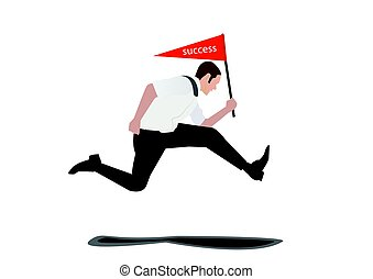 Businessman jumps with success flag