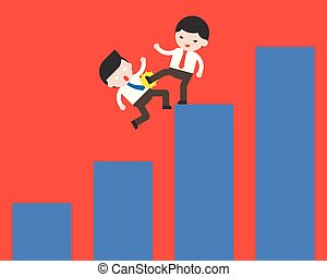 Businessman kick another business man out of his graph, competition concept