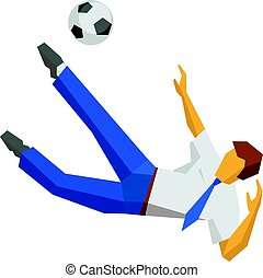 Businessman kicking soccer ball