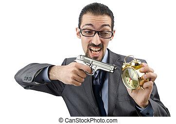 Businessman killing the time on white