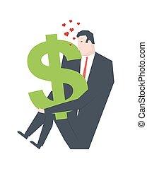 Businessman kisses dollar. Love money profit. Vector illustration