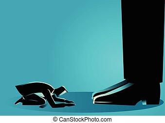 Businessman kneel down under giant feet - Business concept...