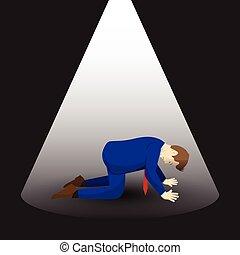 Businessman Kneeling Under Spotlight - Vector Illustration...