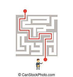 Businessman Labyrinth Choosing Path Way Challenge