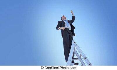 Businessman Ladder Champion Fist