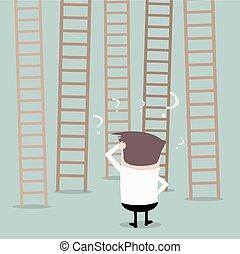 Businessman Ladders Decision