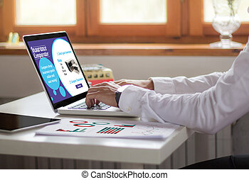 businessman laptop office insurance comparator