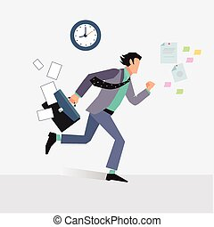 Businessman late for an appointment vector illustration