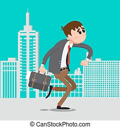 Businessman Late for Work.  Man Hurry to Work. Vector illustration