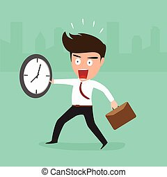 Businessman late going to work, vector Illustration