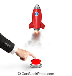 Businessman launches rocket pushing a red button. 3D ...