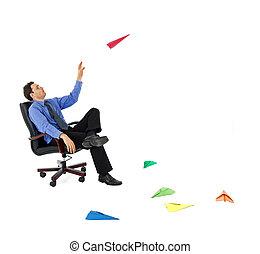Businessman launching new ideas - Businessman launching ...