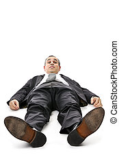 Businessman laying down on white background - Scared...
