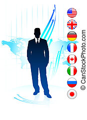 Businessman Leader on World Map with Flags