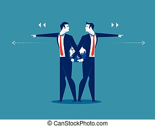 Businessman leader pushing different direction. Concept business success illustration. Vector cartoon character flat