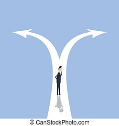 Businessman leader to decide on the two-way road, vector illustration. Royalty free stock images.