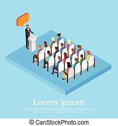 Businessman Leader With Chat Bubble Business People Group Conference Hall Meeting Copy Space 3d Isometric
