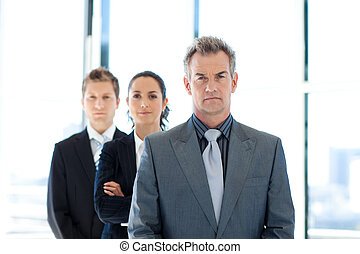 Businessman leading a business team