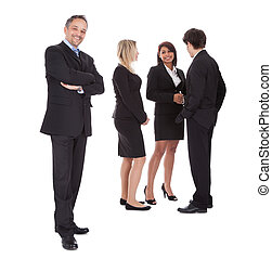Businessman leading an group