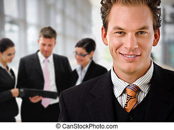 Businessman leading business team