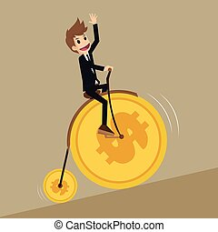 businessman leads retro bicycle money coin wheel