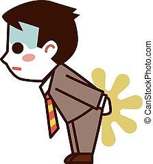 Businessman leaking stool  - Vector illustration.