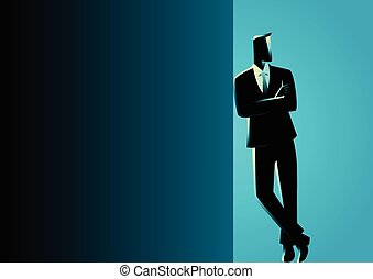 Business illustration of a businessman leaning at black blank space for copy with arm crossed