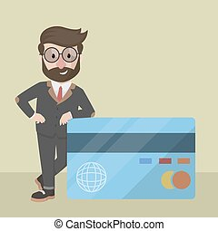 businessman leaning on credit card