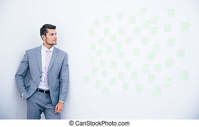 Businessman leaning on the wall
