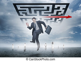 Businessman leaping happily in front of giant qr code