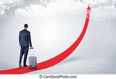 Businessman leaving on the red carpet arrow