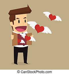 businessman let the heart freedom, work that he love. vector