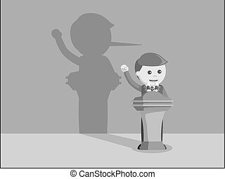 Businessman lied in his speech black and white color style