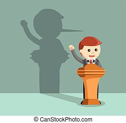 businessman lied in his speech