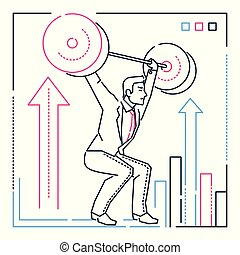 Businessman lifting a heavy bar - line design style illustration