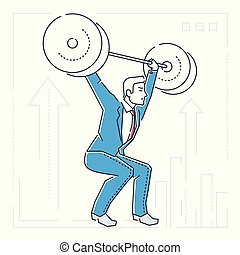 Businessman lifting a heavy bar - line design style isolated illustration