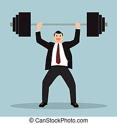 businessman lifting a heavy weight