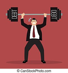 businessman lifting a heavy weight debt