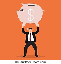 businessman lifting a piggy bank